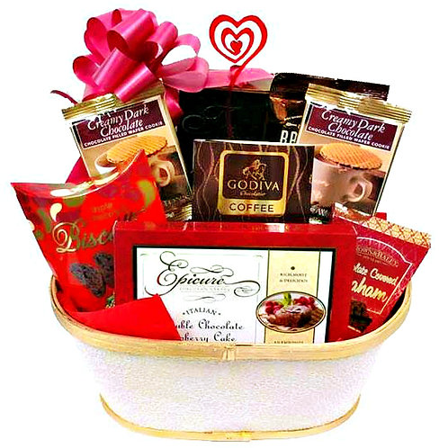 Sweethearts Gift Basket with Chocolate Cookies and Cake