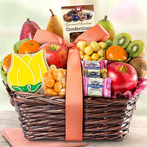 Deluxe Fresh Fruit & Sweet Treats Gift Basket