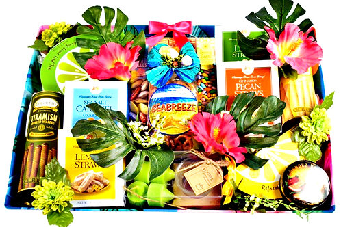 Tropical Treats Gift, Refreshing Goodies Basket & Serving Tray