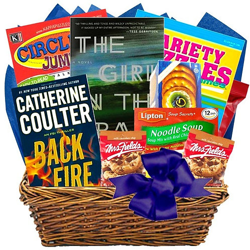 Deluxe Feel Better Basket With Books, Puzzles & Snacks