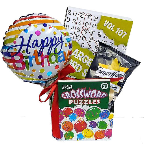 Birthday Gift for Men or Women with Puzzle Books & Popcorn