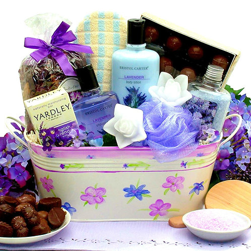 Gift Basket of Relaxing Lavender Spa Gifts