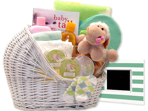 Baby Bassinet Gift Basket  (In Colors Blue, Pink or Teal)