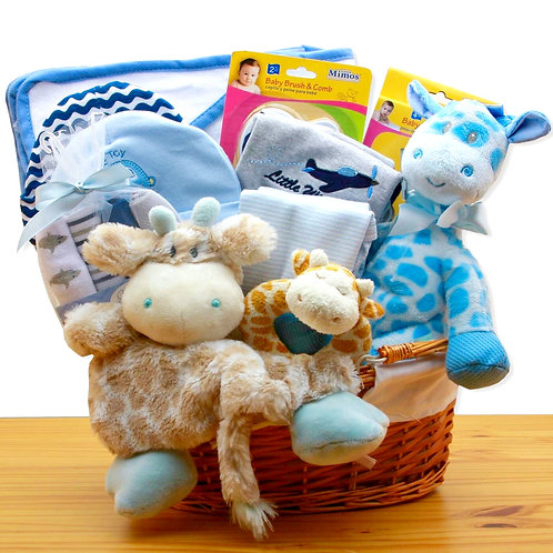 Jungle Buddies, New Baby Boy Safari Gift Basket - Blue Theme