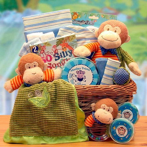 Playful Jungle Buddy, New Baby Gift Basket Full Of Baby Gifts