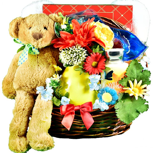 Cheerful Teddy Bear Gift Basket, Sweets & Goodies For Her