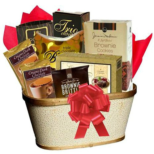 Gift Basket with Chocolate Cookies and Cake