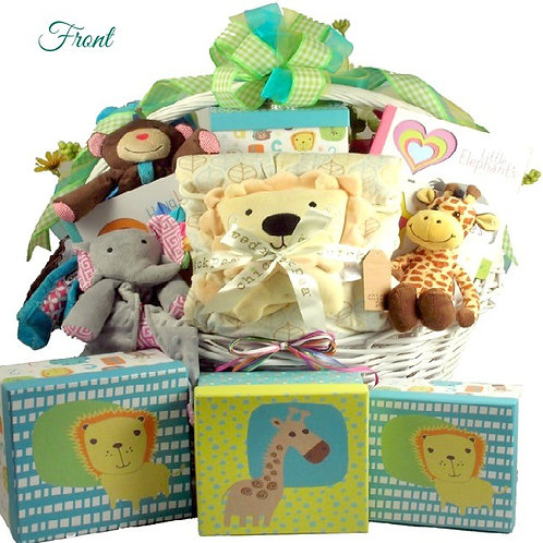 Snuggling Safari, New Baby Gift Basket