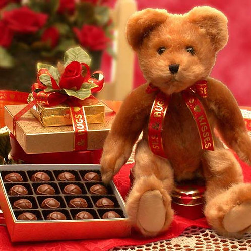 Sweetheart Teddy Bear and Chocolates Gift Basket