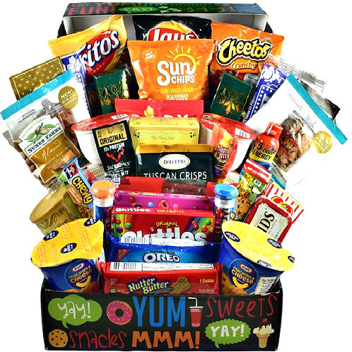 College Care Package Gift Box Of Sweets, Snacks, Tasty Treats