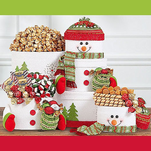 Happy Holiday Snowman Gift Tower
