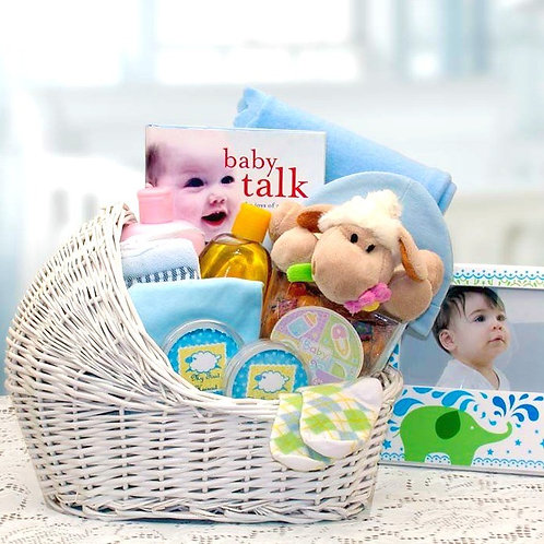 New Baby Boy Bassinet Gift Basket