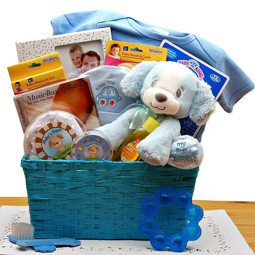 Puppy Love Baby Boy Gift Basket, Perfect Gift For Baby Boy