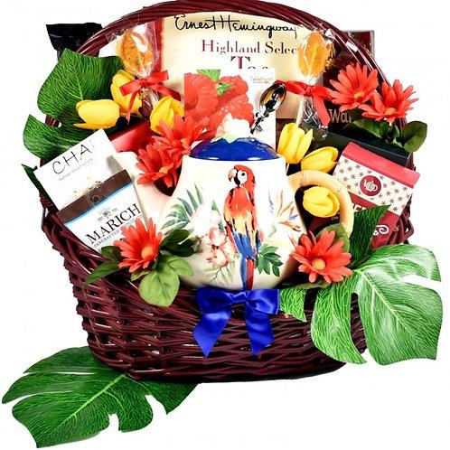 Tea Lovers Gift Basket, Tropical Tea Pot Gift Set