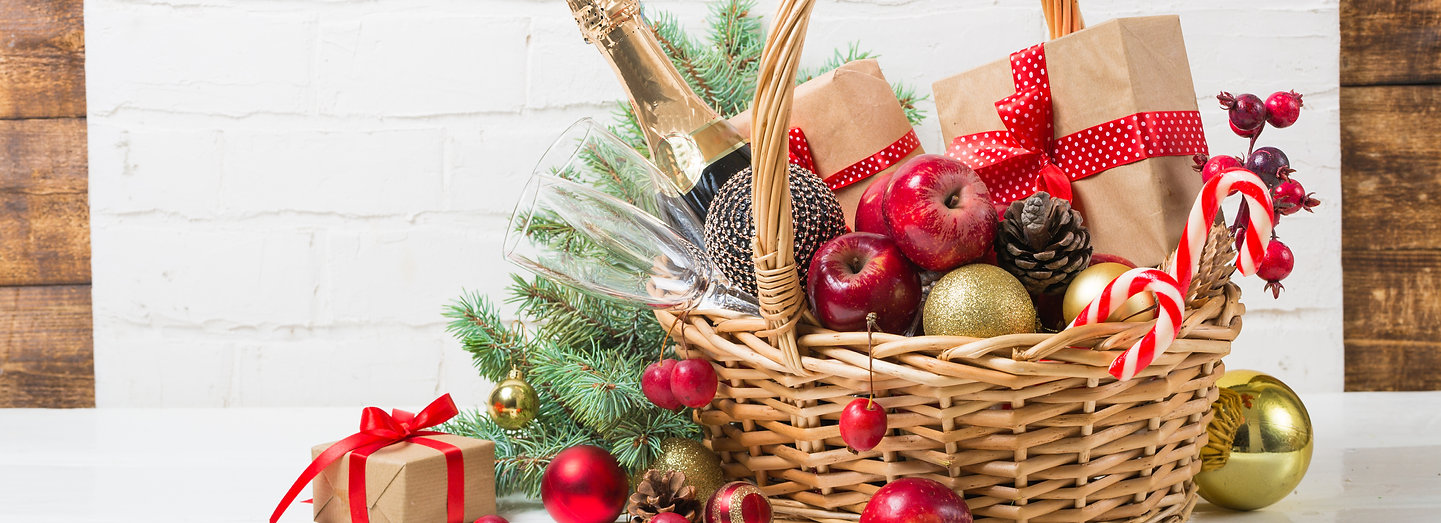 Christmas basket with champagne bottle a