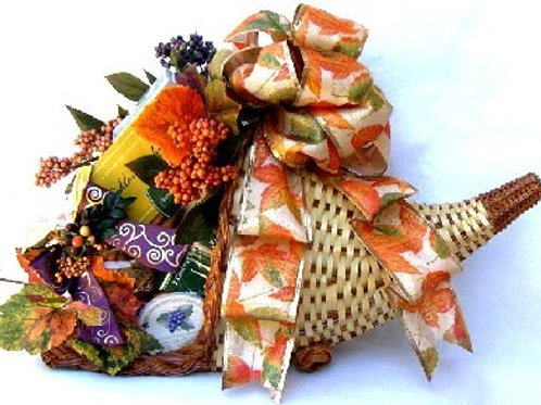 Cornucopia Gift Basket, Fall Gift Baskets, Thanksgiving Gift Idea