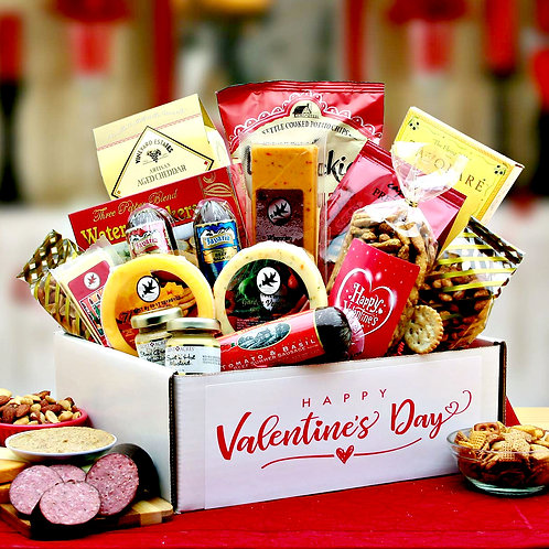 Valentine Gift Pack; Salamies, Cheeses, Crackers, Nuts, Plus