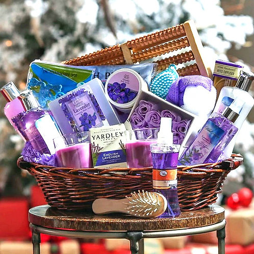 Lavender Spa Escape Gift Basket, Pampering Gift For Her