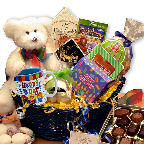 Birthday-Themed Gift Basket, Foods, Candies, & Teddy Bear