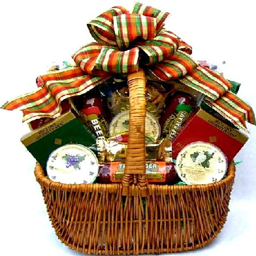 Deluxe Gift Basket Filled With Delicious Sausage & Cheese