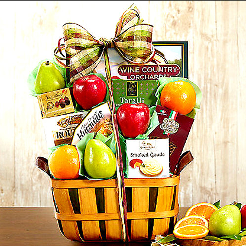 Wholesome Fruit Basket With Complimentary Gourmet Snacks