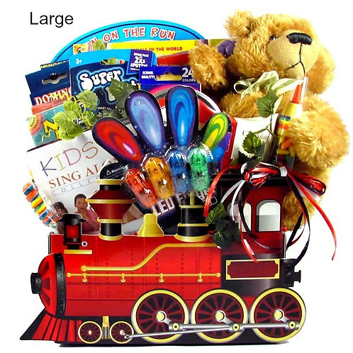 Train Themed Gift Basket For Kids With Bear, Sweet Treats & Fun Gifts