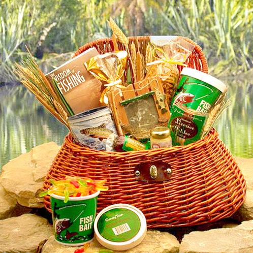 Fishing Fanatic's Fishing Creel Gift Basket