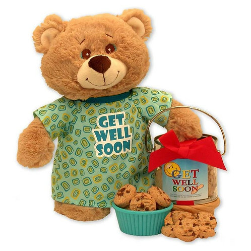Get Well Gift Set, Teddy Bear and Cookies