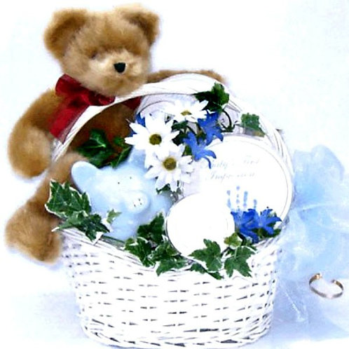 New Baby Gift Basket, Available in Blue or Pink