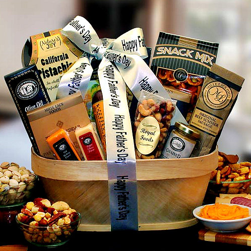 Father's Day Gourmet Nut, Sausage & Cheese Gift Basket