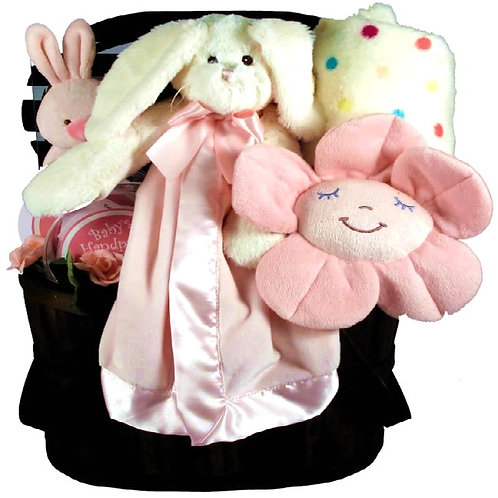 New Baby Girl Bunny-Themed Gift Basket