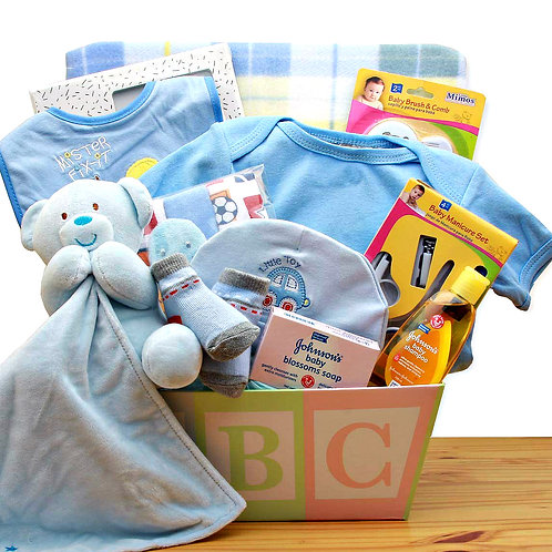 Adorable New Baby Gift basket Just For Boys, ABC Gift Box