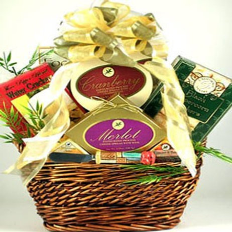 Gourmet Cheese and Sausage Food  Basket
