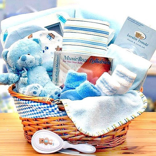 Organic New Baby Boy Gift Baskets