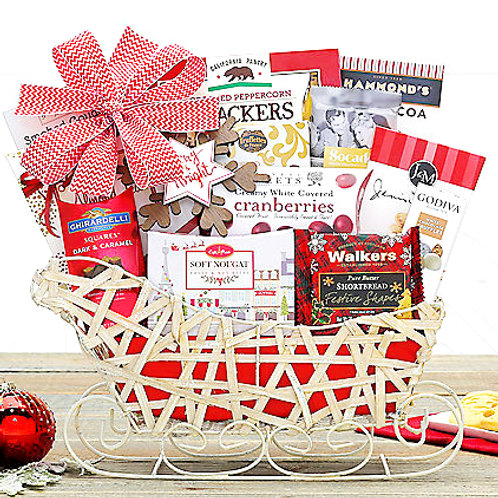 Merry & Bright Holiday Sleigh W/ Tasty Christmas Goodies