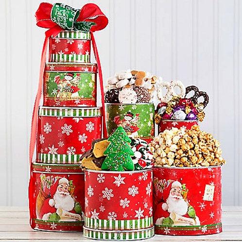 Nostalgic Holiday Gift Tin Tower