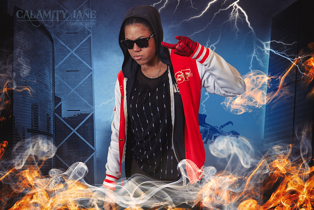 Teen Superhero Fantasy Composite by Calamity Jane Photography Studio Las Vegas