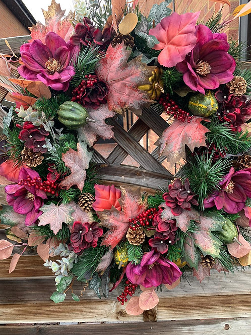 """Ready for Autumn"" - Bespoke Artificial Seasonal Door Wreath"