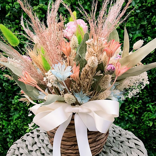 Dried Flower Arrangement In Basket