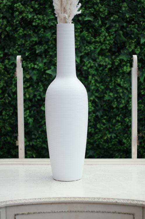 White Ribbed Vase