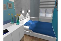 Projekt mieszkania 70mk - sypialnia