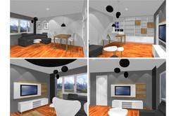 Projekt mieszkania 70mk - salon