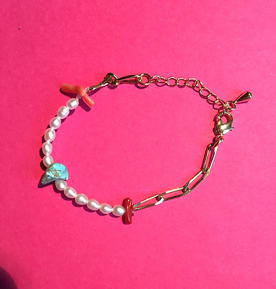 Bracelet mi-perles mi-chaîne