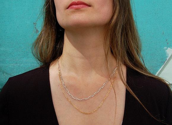 Collier double chaîne argent et plaqué or