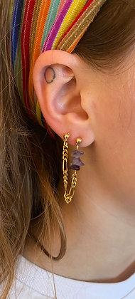 Boucles d'oreilles asymétriques ornées de pierres