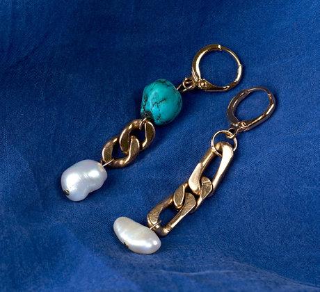 Boucles d'oreilles asymétriques perles et turquoise