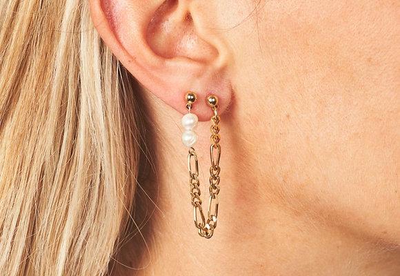 Boucles d'oreilles asymétriques ornées de perles