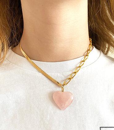 Collier double chaîne orné d'un cœur
