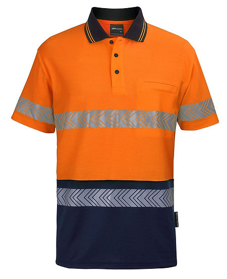 HI VIS (D+N) COTTON BACK S/S SEGMENTED TAPE POLO 6HMSS