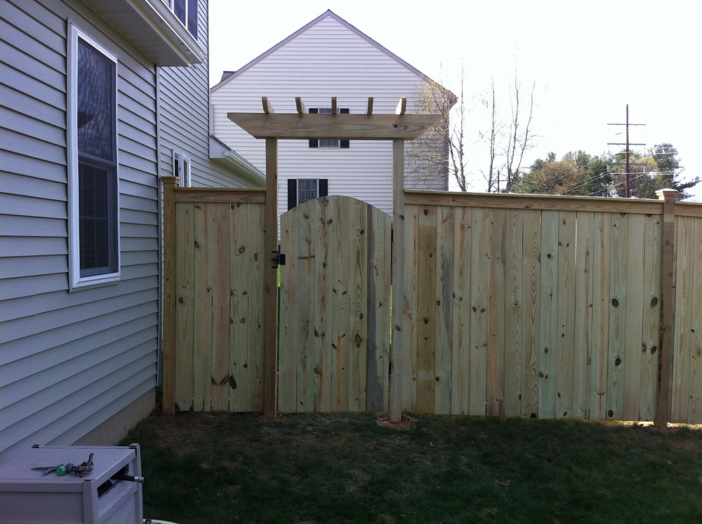 Wood Fence Installation and Gate Arbor in Harrisburg, Mechanicsburg, Aspers, Carlisle, Enola, Camp Hill, Dillsburg, York